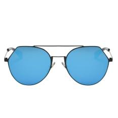 Lampu Besi Polygona Wanita Kacamata Bundar (Hitam Frame Biru Quicksilver)-Intl