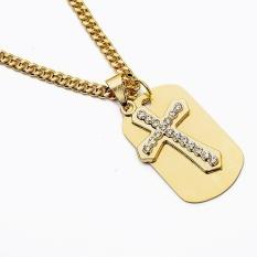 Militer Tajam Sisi Rhinestone 24K Emas Berlapis Salib Liontin Kalung Kuba Rantai Panjang dengan Logam cross
