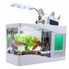 Jual Mini Usb Lcd Desktop Ikan Tangki Akuarium Clock Timer Kalender Warna Putih Tiongkok Murah