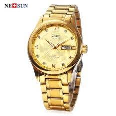 Mobil Kecil NESUN GEN MS9121 Pria Automatic Mechanical Watch Kalender Buatan Diamond Timbangan 5ATM Jam Tangan Golden (Warna: Emas) -Intl