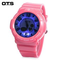 Mobil Kecil OTS T8053G Dual Movt Anak Olahraga QUARTZ Digital Watch Alarm Chronograph Tampilan 5ATM Jam Tangan Pink (Warna: Pink)-Intl
