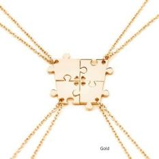 Minimalis Empat Piece Heart Puzzle Heart Pendant Kalung Teman atau Keluarga Puzzle Necklace Set Love Friendship-Intl