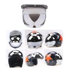Miracle Bersinar Motor Helm Gelembung Perisai 3-Tempatkan Masker Wajah Angin Perisai Lensa-Internasional