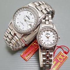 Promo Toko Mirage Jam Tangan Couple Diamond Silverwhite Mrg 266