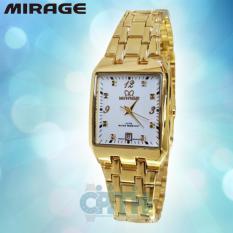 Obral Mirage M7716G Jam Tangan Wanita Stainless Steel Gold Putih Murah
