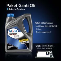 Mobil Super™ 2000 X2 10W-40 (4 liter) Paket Ganti Oli (Jakarta Selatan)