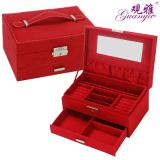 Situs Review Model Korea Lapisan Ganda Jewelry Cincin Kotak Kalung Putri Perhiasan Kotak