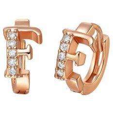 Mono 18 K Rose Gold F Letter Inlay Cubic Zircon Stone Anting Untuk Wanita Rose Gold Intl Oem Diskon 40