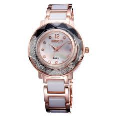 Moob Merek Mewah Bling Crystal Wanita Jam Tangan Gelang Keramik Putih Hitam QUARTZ Clock Wanita Jam Tangan Berlian Imitasi Hadiah Jam Tangan (Emas)