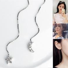 Moonar 1 Pair Indah Bintang Dan Bulan Liontin Earrings Fashion Zircon Dihiasi Anting-Anting Panjang