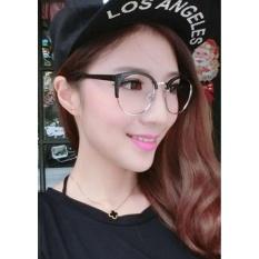 Moonar Baru Fashion Wanita Logam + Plastik Lingkaran Bingkai Anti-radiasi Kacamata Plain Kaca Optik Spectacles (Dark Brown + Emas) -Intl
