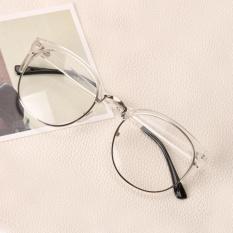 Moonar Baru Fashion Wanita Logam + Plastik Lingkaran Bingkai Anti Radiasi Kacamata Plain Kaca Optik Spectacles