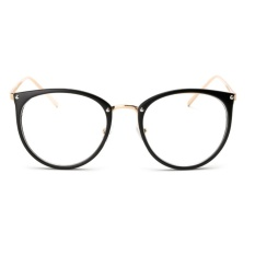Moonar Unisex Vintage Dekorasi Optik Kacamata Round Metal Miopia Bingkai (Matte Hitam, 2 #)