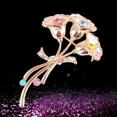 Morning Glory Flowers Brooches Pins with Crystals For Women Bridal Hats Scarf Lapel Clothes Wedding Brooches Fashion Jewelry Ceremony Gift - intl