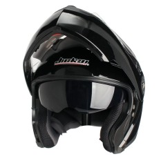 Helm Motocross Balap Motor Lipat Hingga Helm Motocicleta Casco Helm Universal (Cerah Hitam) L-Internasional