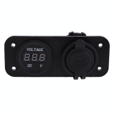 Spesifikasi Motorcycle Car Boat 2In1 Lcd Waterproof Dual Usb Charger Voltage Meter Dan Harga
