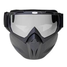 Masker Wajah Bersepeda Motor Windproof Lensa PC Goggles Motorbike Helm Kacamata Dilepas Wajah Terbuka Goggle Carbon-Intl