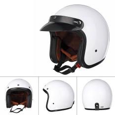 Helm Sepeda Motor Antik Harley 3/4 Tanpa Kedok Lensa (PUTIH XL)-Internasional