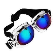 Motorcycle Vintage Kacamata Motorbike Helm Eyewear Kacamata Bersepeda Di Luar Ruangan Retro Riding Glasses untuk Harley Cafe Pembalap Lensa Berwarna Silver Frame -Intl