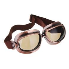 Motorcycle Vintage Kacamata Motorbike Helm Eyewear Kacamata Bersepeda Di Luar Ruangan Retro Riding Glasses untuk Harley Cafe Pembalap Teh Warna Lensa Tembaga Frame-Intl