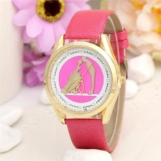 Ms Lovers Kiss Pattern Women Leather Band Watches Sport Analog LadyQuartz Date Wrist Watch(Rose) - intl