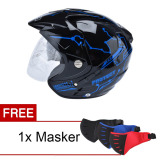 Toko Msr Helmet Impressive Protect Double Visor Hitam Biru Promo Free Masker Lengkap