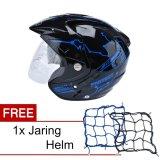 Beli Msr Helmet Impressive Protect Hitam Biru Promo Gratis Jaring Helm Murah Di Banten