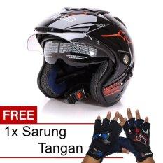 MSR Helmet Impressive - Protect - Hitam Merah + Promo Gratis Sarung Tangan