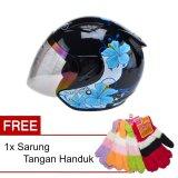 Beli Msr Helmet Javelin Gardenia Hitam Biru Promo Gratis Sarung Tangan Handuk Baru