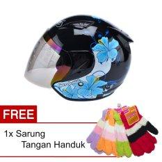 Toko Msr Helmet Javelin Gardenia Hitam Biru Promo Gratis Sarung Tangan Handuk Murah Di Banten