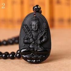 MStore 1 PC Hitam Obsidian Kalung Buddha Guardian Pendant dengan Manik-manik Batu Alam Chain Lucky GIF Di Orientales Pola # 2-Intl