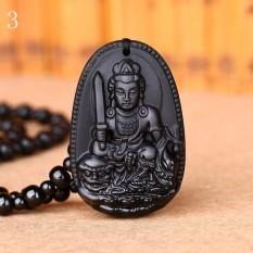 MStore 1 PC Hitam Obsidian Kalung Buddha Guardian Pendant dengan Manik-manik Batu Alam Chain Lucky GIF Di Orientales Pola # 3-Intl