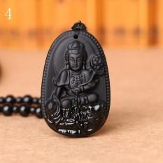 MStore 1 PC Hitam Obsidian Kalung Buddha Guardian Pendant dengan Manik-manik Batu Alam Chain Lucky GIF Di Orientales Pola # 4-Intl