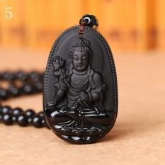 MStore 1 PC Hitam Obsidian Kalung Buddha Guardian Pendant dengan Manik-manik Batu Alam Chain Lucky GIF Di Orientales Pola # 5-Intl