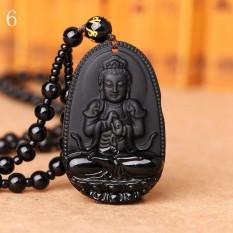 MStore 1 PC Hitam Obsidian Kalung Buddha Guardian Pendant dengan Manik-manik Batu Alam Chain Lucky GIF Di Orientales Pola # 6-Intl