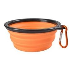 Multi Warna Pet Dog Puppy Portable Silicone Collapsible Travel Feeding Bowl Makanan Water Dish Feeder Warna: Orange Gaya: None-Intl