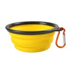 Multi Warna Pet Dog Puppy Portable Silicone Collapsible Travel Feeding Bowl Makanan Water Dish Feeder Warna: Kuning Gaya: None-Intl