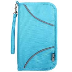 Multifungsi Portable tahan air nilon RFID pada tiket fungsi paspor travel uang kantong penyimpanan tas dompet tas organiser dudukan Biru - Internasional