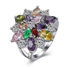 Multi Legenda Baru Hot SALE 925 Sterling Silver Natural Gemstones Ring Wanita Merek Perhiasan Pertunangan Cincin Bunga Multicolor Ruby Emerald Birthstone Pernikahan Ring-Seperti Gambar UKURAN 9-Intl