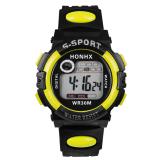 Multifungsi Digital Led Alarm Tanggal Sport Waterproof Watch Kuning Intl Murah