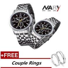 NARY 6033 Dial klasik sepasang kekasih pria wanita lengkap jam tangan Stainless Steel kuarsa hitam + gratis yang dapat pecinta cincin (membeli 1 mendapatkan 1 gratis) - International