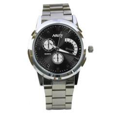 Jual Nary Jam Tangan Analog Pria Strap Stainless Steel 6017 Black Silver Nary Asli