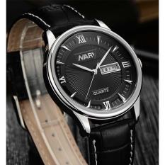 Review Nary Jam Tangan Analog Strap Kulit 5400 Black Silver Terbaru