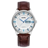Harga Nary Jam Tangan Analog Strap Kulit 5400 Brown Blue Original