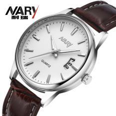 Spesifikasi Nary Jam Tangan Analog Strap Kulit 6115 Brown White Dan Harganya