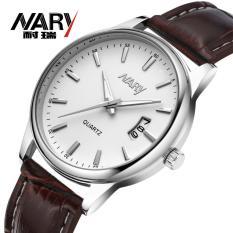 Nary Jam Tangan Analog Strap Kulit - 6115 - Brown/White