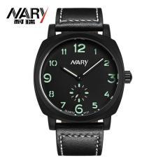 Toko Nary Jam Tangan Analog Strap Kulit 6119 Black Green Lengkap