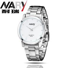 Jual Nary Jam Tangan Analog Wanita Strap Stainless Steel 6003 White Silver Nary Original