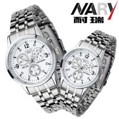 Promo Nary Jam Tangan Analog Wanita Strap Stainless Steel 6033 White Silver Nary