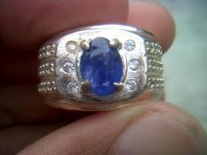 Natural Blue Safir Cating Srilanka Ring Alpaka